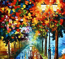 Night Park - Oil painting on Canvas By Leonid Afremov by Leonid  Afremov
