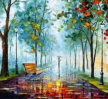 Foggy Day - Oil painting on Canvas By Leonid Afremov by Leonid  Afremov
