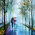 Foggy Gossip - Oil painting on Canvas By Leonid Afremov by Leonid  Afremov