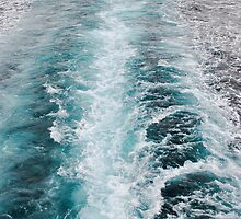 Deep blue wash from a boat by Kelly Eaton