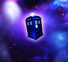 iPhone Cover - Blue Tardis In Space by Chibie