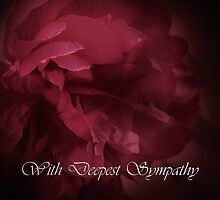 Peony and Deepest Sympathy Text card by walstraasart