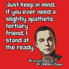 Sheldon Quote - Apathetic Tertiary Friend by TGIGreeny