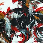 Fight and Flight - Rooster semi abstract painting by Khairzul MG