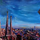 Barcelona City View and Sagrada Familia by artshop77