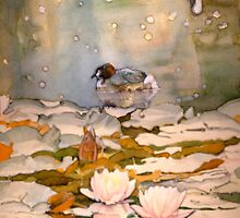 Waterlilies and ducks by JudyUNelson