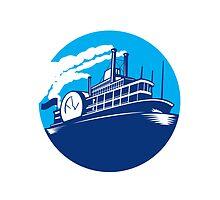 Steamboat Ferry Passenger Ship Retro by patrimonio