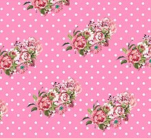 Girly Vintage Retro Floral Pattern Pink Polka Dots by GirlyTrend