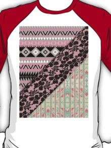 Abstract Pink Orange Aztec Black Girly Floral Lace T-Shirt