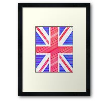 Modern Abstract White Aztec UK Union Jack Flag Framed Print