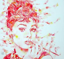 AUDREY HEPBURN - watercolor portrait.3 by lautir