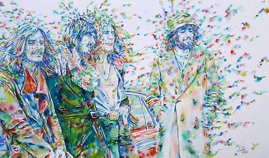 LED ZEPPELIN BAND - watercolor portrait by lautir