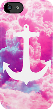 Girly Nautical Anchor Bright Pink Clouds Sky by GirlyTrend