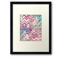 Retro Pink turquoise Floral Stripe Chevron Pattern Framed Print