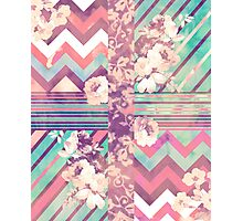 Retro Pink turquoise Floral Stripe Chevron Pattern Photographic Print