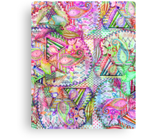 Abstract Girly Neon Rainbow Paisley Sketch Pattern Canvas Print