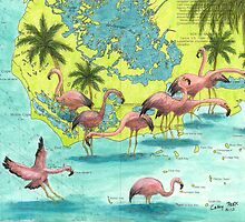Florida Flamingo Flock Chart Bird Art Cathy Peek by Cathy Peek