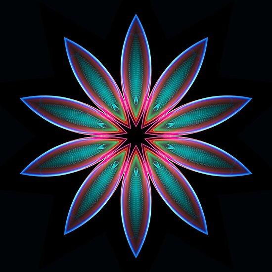 Flame 2 Color Flower Kaleidoscope 01 by fantasytripp