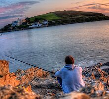 Fishing off the Rocks, Burgh Island, Bigbury on Sea by jcjc22