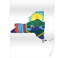 New York Flag | State Line | SteezeFSC Poster
