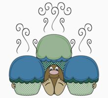 Cute Monster With Blue And Cyan Frosted Cupcakes Kids Clothes