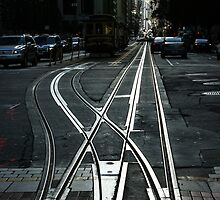 San Fransisco Silver Cable Car Tracks by Georgia Mizuleva