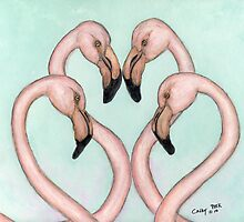 Flamingo Flirtation Tropical Bird Art Cathy Peek by Cathy Peek