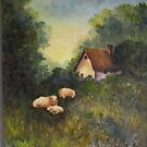 Woods with Cottage by Mary  Lawson