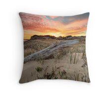 Driftwood Log Sunrise Throw Pillow