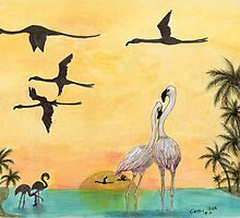 Flamingo Sunset Silhouette Tropical Bird Art Cathy Peek by Cathy Peek