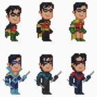 Robin (Dick Grayson) Pixel Figure Sticker Set by Pixelfigures