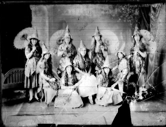 Concert girls photograph - glass negative by David Fraser