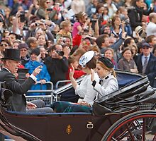 Prince Andrew with his daughters Beatrice & Eugenie returning from Trooping The Colour by Keith Larby
