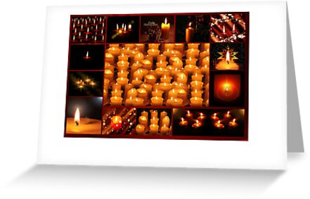 Christmas card with Christmas candle collage by Cheryl Hall
