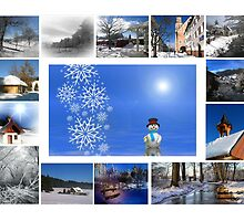 Christmas card with snowman snow Christmas collage by Cheryl Hall