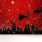 Christmas card with Santa in sleigh by Cheryl Hall