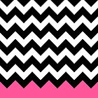 Pink Black White Chevron Zigzags by Cierra Doran
