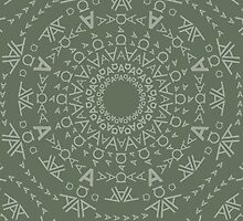 Monogram pattern (A) in Deep Lichen by Janna Barrett