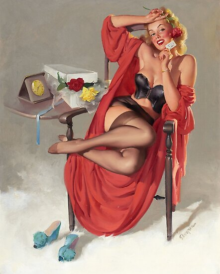 Gil Elvgren - Flower Surprise Pin-up Girl by TilenHrovatic