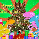 Cute Cartoon Dinosaurs by the Merry Christmas Tree by cutecartoondino