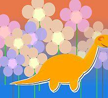 Cute Orange Flower Dinosaur by cutecartoondino