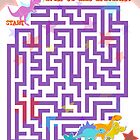 Cute Cartoon Dinosaurs Maze Puzzle by cutecartoondino