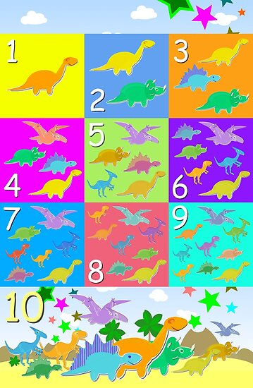 Counting with Cute Cartoon Dinosaurs 1 to 10 by cutecartoondino