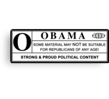 obama warning label Canvas Print