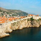 Panoramic sea view of old Dubrovnik with the bay. by kirilart