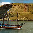 Bark Endeavour Passing Whitby East Cliff by Rod Johnson
