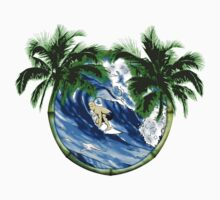 Surfer And Palm Trees by BailoutIsland