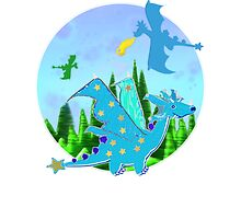 Cute Blue Cartoon Dragon with Stars Wings and Star Tail by cartoon-dragons