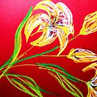 LILIES ON RED by irishrainbeau
