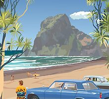 Piha New Zealand with Surfers 1969 by contourcreative